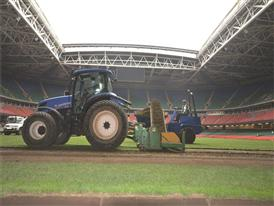 The T6 working on the Millennium Stadium in Cardif, Wales, last fully grass surface