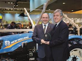 Carlo Lambro and Marco Votta (CEO of Turks Tractors) with the New Holland Agriculture T3F TOTY® 2015 Award