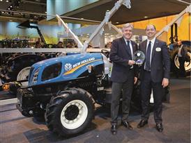 Carlo Lambro, Brand President New Agriculture and Marco Mazzaferri with the New Holland Agriculture T3F TOTY® 2015 Award