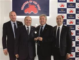 Carlo Lambro, Luca Mainardi, Marco Votta, and Marco Mazzaferri with the New Holland Agriculture T3F TOTY® 2015 Award