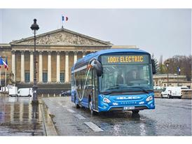 The Heuliez Bus GX ELEC electric bus being road tested in Paris