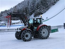 STEYR  4115 Multi Tractor at the Ski Flying Championships in Kulm, Austria