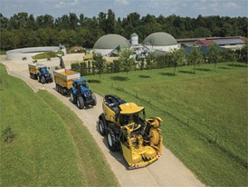 The New Holland Agriculture FR 780 (front) equipped with Power Cruise Eco Mode