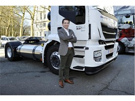 Iveco Brand President Pierre Lahutte with an Iveco Stralis LNG (liquefied natural gas)