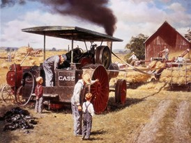 In 1869 Cases produces the first steam powered tractor is produced
