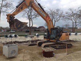 CASE CX300D Excavator at work in the new industrial area in Staphorst, in the North of Holland