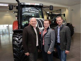 STEYR Brand President Andreas Klauser, Customer Thomas Hecher, Major of Bad Bleiberg Christian Hecher