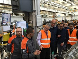 Giacomo Stella, San Mauro Plant Manager (centre) with employees at the San Mauro Plant