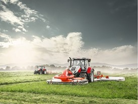 Steyr 6145 & 4145 Profi Tractors mowing and raking