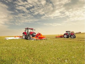 Case IH Maxxum Tractors with a triple mower and a rake work together