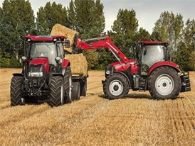 Case IH Maxxum and Maxxum CVX with a front loader loads bales