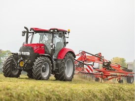 Case IH Maxxum Tractor with a windrower