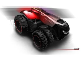 Final design sketch of the Case IH Magnum Autonomous Concept Tractor - Front View
