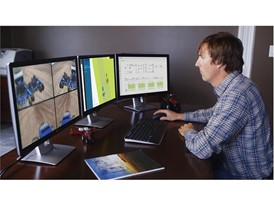 The interactive user interface features 3 screens: live camera feeds, a mapping screen and machine parameters monitoring