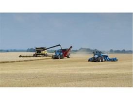 New Holland T8 NHDrive Autonomous Concept Tractor with the 2085 Air Disc Drill alongside a CR Combine and a T8 SmartTrax
