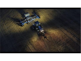 New Holland T8 NHDrive Autonomous Concept Tractor in the field with the New Holland 2085 Air Disc Drill Working at Night
