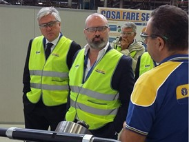 Stefano Bonaccini (right) and Carlo Lambro during their visit to the Modena production facility