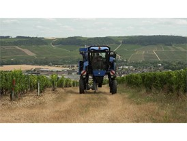 The VN2080 Grape Harvester from New Holland Agriculture at work in a Chablish vineyard