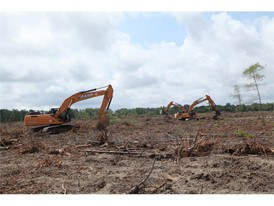 Farmland Conversion using excavators to clear scrub land