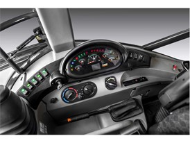 The interior of the tractor loader backhoe has easy to read and operate controls
