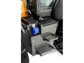 Easy access steps enable unfettered access to the backhoe loader's cab