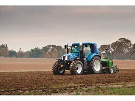 New Holland T6 Methane Power tractor undertaking field activities