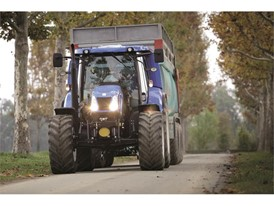 New Holland T6 Methane Power tractor conducting high speed transport