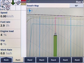Case IH AccuGuide tramline management screens