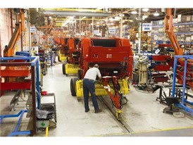 The round baler assembly line at the New Holland Manufacturing Plant in New Holland Pennsylvania