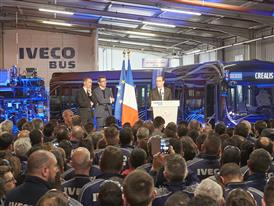 French President François Hollande with Pierre Lahutte, IVECO Brand President and Annonay's Deputy Mayor