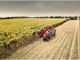 A Case IH sugar cane harvest in operation