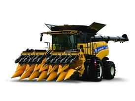New Holland CR combine with a Corn Rower header attached