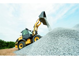 New Holland Construction Wheel Loader moving aggregate