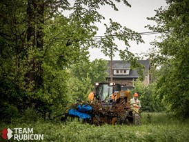 CASE TR310 CTL clears brush as part of Operation Joe Louis in Detroit, MI.
