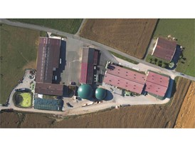 The biodigester domes are at the heart of the farm, alongside the refining unit and traditional farm buildings