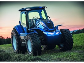 The methane powered concept tractor features an integrated front methane tank for day-long autonomy