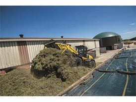 The harvested energy crop is stored and compacted for use throughout the year