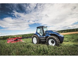 The methane powered concept tractor mowing lucerne which will ultimately be fed into the biodigester