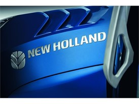 The aggressive air intakes on the front grille are key New Holland styling elements