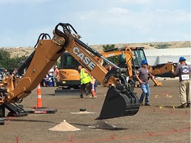 Egg pickup with a backhoe bucket, part of the final relay
