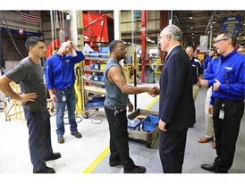 U.S. Senator Bob Casey greets employees during a New Holland plant tour