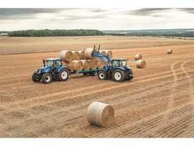 T6 175 Dynamic Command Tier 4B Tractors Loading Bales in the field