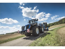 New Holland's T9 565 with Autocommand conducting road transport