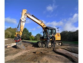 CASE CX130D excavator with Robert Parry (left) , Coates Plant Sales Ltd and Charlie Greasley (right), John Greasley Ltd