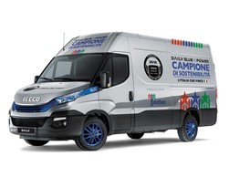 "IVECO's new Daily Blue Power Hi-Matic Natural Power in a special Telethon and ""l'Italia che vince"" livery"