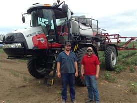 Case IH customer Andrew Lowien with a new special edition Patriot 4430 sprayer, Case IH Product Specialist Andrew Kissel