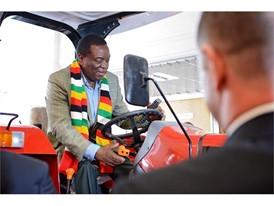 President of Zimbabwe, Emmerson Mnangagwa, trying out Case IH machinery