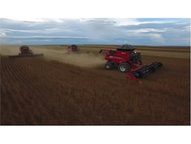 Case IH harvesting soybean in Brazil