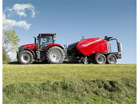 Case IH Maxxum with RB 545 Sillage Pack Baler