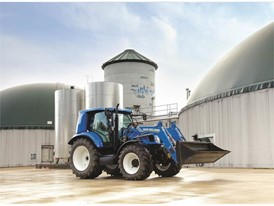 New Holland T6 Methane Power tractor prototype with the biodigestors that produce biomethane